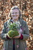 Kathy Brown with snowdrop kokedama, moss ball