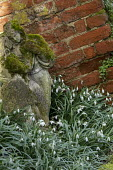 Stone statue, brick wall and buttress, snowdrops
